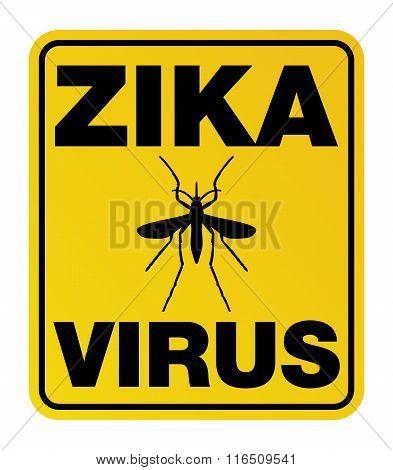 Yellow Zika Virus Warning Sign