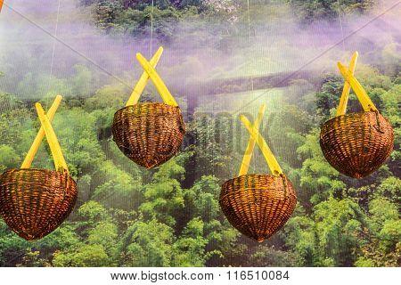Wicker Baskets Hang On Board