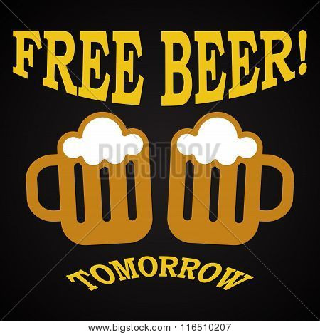 Free beer - funny inscription template