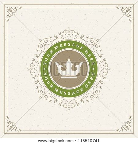 Royal Logo Design Template. Flourishes calligraphic elegant ornament lines