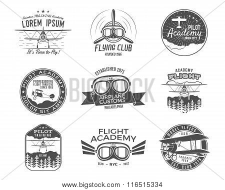 Vintage airplane emblems. Biplane labels. Retro Plane badges, design elements. Aviation stamps colle
