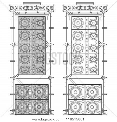 vector monochrome outline event line array massive loudspeakers satellites suspended metal scaffold subwoofers isolated illustration white background poster