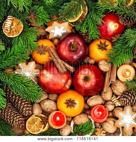 Christmas Food Backdround. Fruits, Nuts, Spices And Cookies