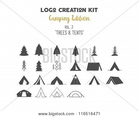 Logo creation kit bundle. Camping Edition set. Trees vector shapes and tents elements. Create your o
