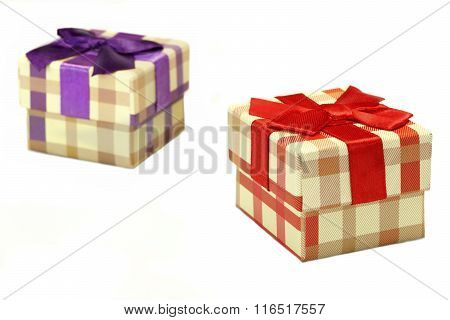 Two Checkered Gift Box With Tartan Pattern Isolated On White
