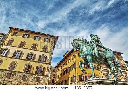 Xvi Century Cosimo I Statue In Piazza Della Signoria