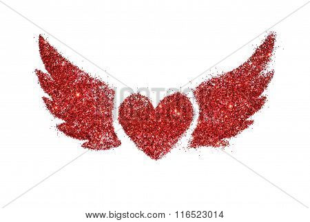 Abstract heart with wings of red glitter sparkle on white background