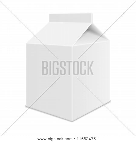 Realistic White Blank Juice, Milk or Soup Carton Package Templat