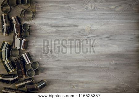 Old film  on Wooden background