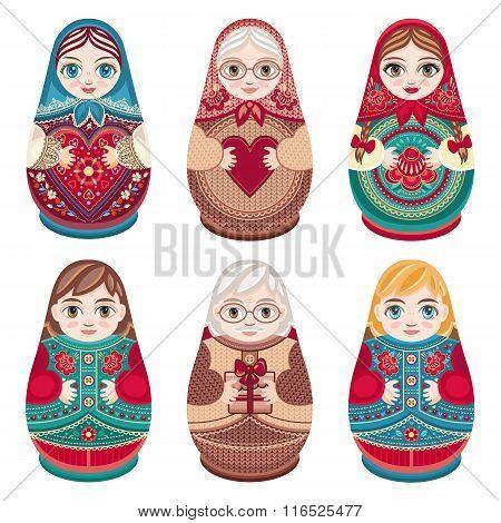 Matryoshka. Russian folk nesting doll.