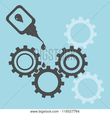 Repair of equipment. Oilcan lubricating gears in blue and grey poster