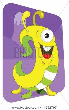 Yellow Wormlike Alien Monster On A Purple Mountain Background