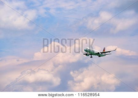 HONG KONG - JUNE 04, 2015: Philippine Airlines aircraft landing at Hong Kong airport. Philippine Airlines (PAL), a trade name of PAL Holdings, Inc. is the flag carrier of the Philippines