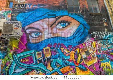 Melbourne graffiti blue eyes women
