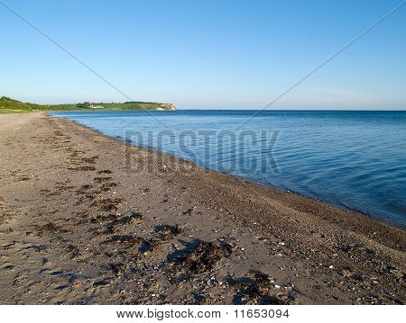 Seascape beautiful seashore bay landscape background Assens Denmark poster