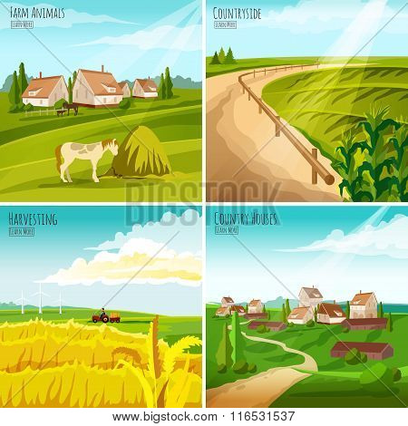 Countryside 4 Flat Pictograms Square Composition