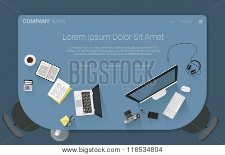 Top view flat design creative workspace concept for web design. Concept for web site and promotion.
