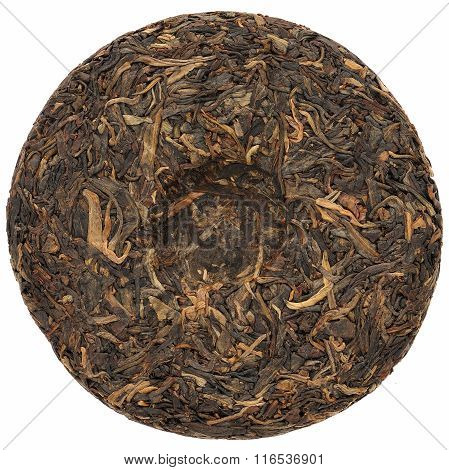 Sheng Puerh Cake Isolated On White, Closeup