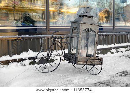 Bike with cart.