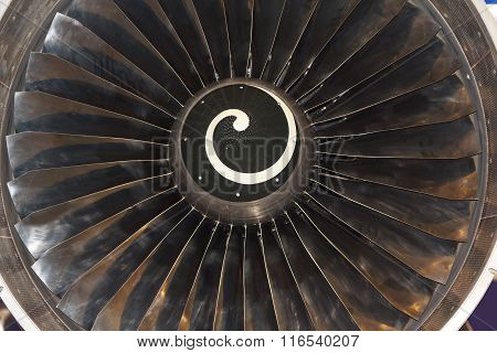 Turbine Blades Of Aircraft Jet Engine. Aviation