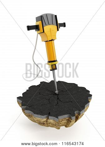 Concrete breaker or Jackhammer isolated on white. poster