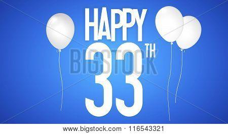 Happy Birthday Card - Boy With White Balloons - 33 Years Greeting Postcard - Illustration Anniversar