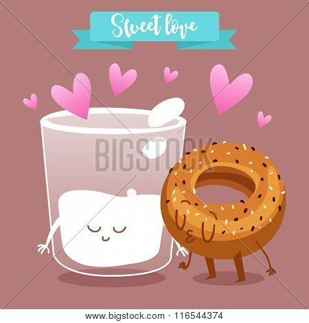 Postcard Valentine's Day. A glass of milk and a bun. Comic food. Illustration with funny characters.