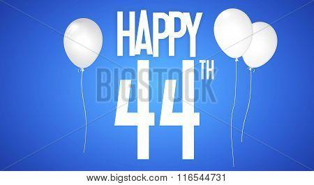 Happy Birthday Card - Boy With White Balloons - 44 Years Greeting Postcard - Illustration Anniversar