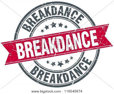 breakdance red round grunge vintage ribbon stamp