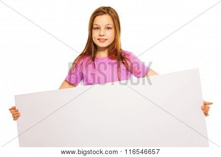 Beautiful girl with advertising sign in her hand