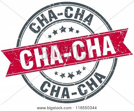 Cha-cha Red Round Grunge Vintage Ribbon Stamp