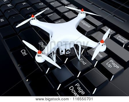 Drone on a computer keyboard.