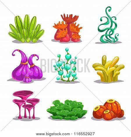 Funny colorful vector fantasy plants