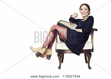 Laughing Woman Reading A Book