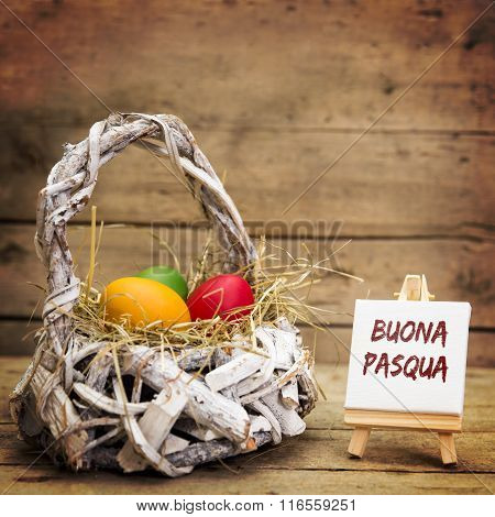 White Basket With Easter Eggs, Italian Text
