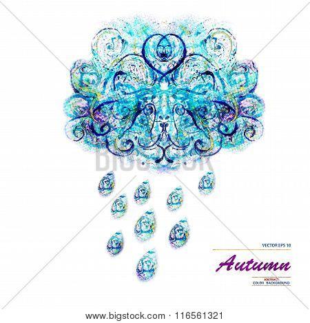Cloud with rain background. Autumn. Vector, EPS10