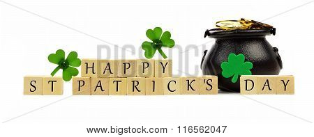 Happy St Patricks Day blocks with Pot-of-Gold over white