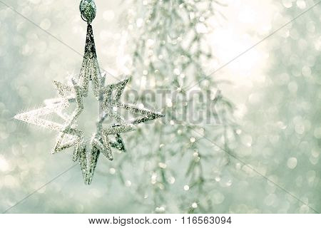 Christmas Ornament Silver Star With Magic Lights Decoraion