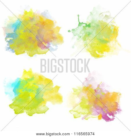 Freah Colorful Watercolor Blobs. Set Of Watercolor Splashes For Design.
