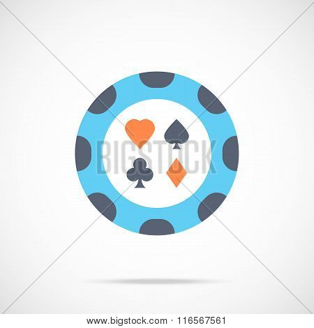 Vector casino chip icon. Flat poker chip icon