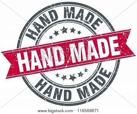 Hand Made Red Round Grunge Vintage Ribbon Stamp