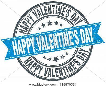 Happy Valentine's Day Blue Round Grunge Vintage Ribbon Stamp