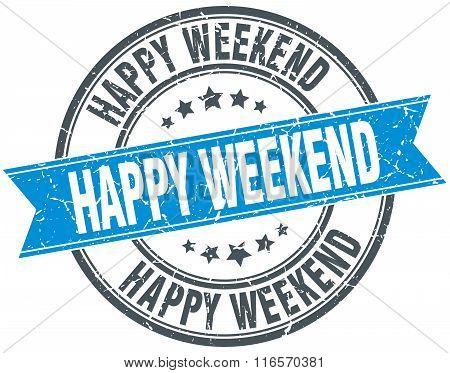 Happy Weekend Blue Round Grunge Vintage Ribbon Stamp