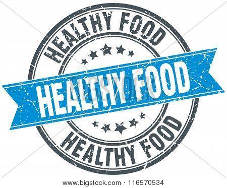 Healthy Food Blue Round Grunge Vintage Ribbon Stamp
