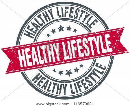 Healthy Lifestyle Red Round Grunge Vintage Ribbon Stamp