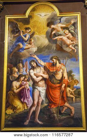 Baptism Jesus Painting Basilica Saint Louis En L'ile Church Paris France