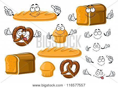 Fresh baked bread loaf, cupcake and pretzel