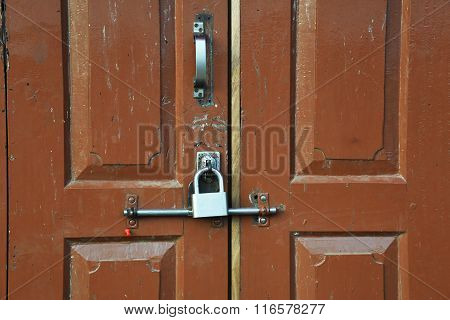 Closed Up The Local Master Key On Wood Wall