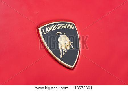 Close-up view of the logo on a Lamborghini