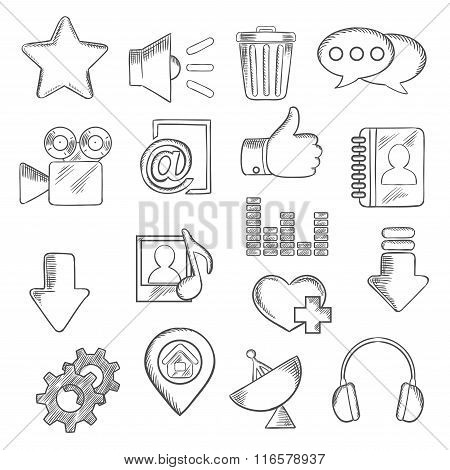 Social media and multimedia icons, sketch style